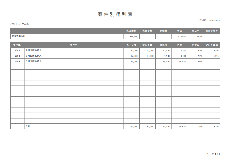 クラウド粗利管理ソフト 案件別粗利表_印刷