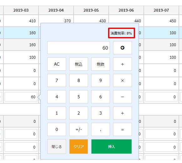 タブレットモード税率表示