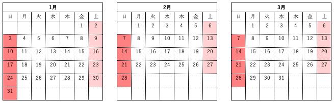2021年祝祭日 未設定